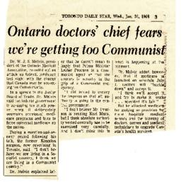 Ontario doctors' chief fears we're getting too Communist