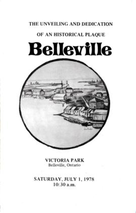 Program for plaque unveiling in Victoria Park, Belleville