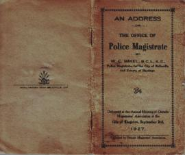 An Address on the Office of Police Magistrate