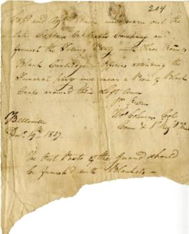 Rebellion, 1837 : militia order to Capt. O'Brien re: the late Capt. McNabb