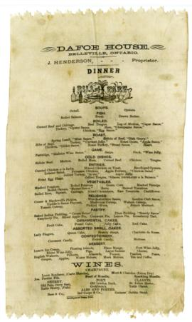 Dafoe House Dinner Menu