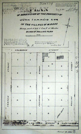 Plan of subdivision of Block A in the village of Madoc