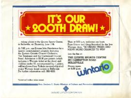 Flyer for 200th Wintario draw