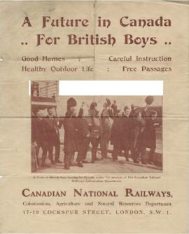 Scan of poster 'A Future in Canada for British Boys'