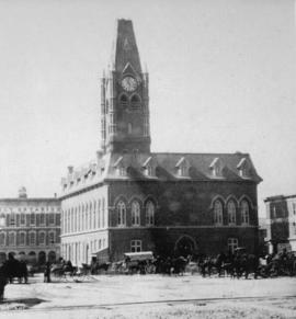 City hall and market square in the early 1900s in Belleville, Ontario.