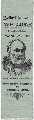 Bookmark welcoming Sir Mackenzie Bowell to Belleville