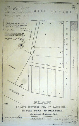 Plan of lots in the Town of Belleville for Wm Dafoe