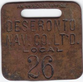 Deseronto Navigation Company luggage tag