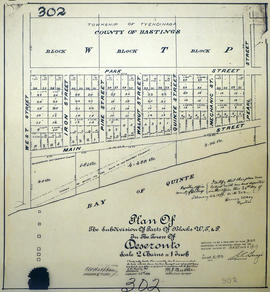 Plan of subdivision of Blocks W, T, P in Deseronto