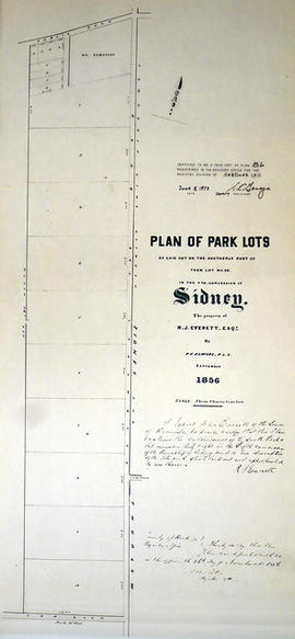Plan of park lots on farm Lot 38 in the Township of Sidney
