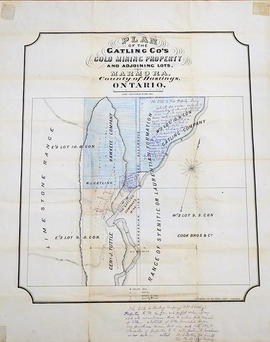 Plan of Gatling Co.'s Gold Mining Property and adjoining lots in Marmora