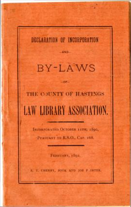 Hastings County Law Association By-laws – 1892 & letter