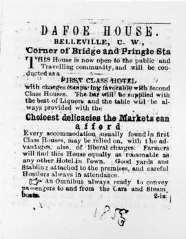 Advertisement for Dafoe House, Belleville at corner of Bridge and Pringle Streets