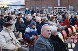 People at the re-opening of city hall, in Belleville, Onatrio.