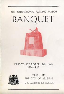 1961 International Plowing Match Banquet Programme