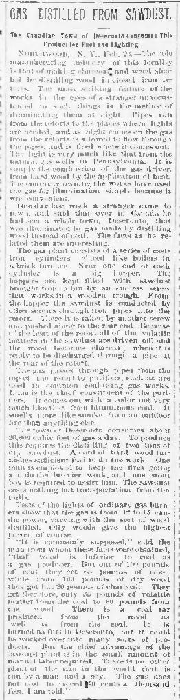 Newspaper article about wood gas in Deseronto