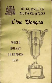 Program and menu for civic banquet for the Belleville McFarlands